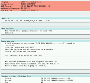 Рисунок 2. Дамп, возникающий при просмотре внедрений BAdI в транзакции HRASR_DT