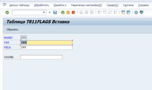 Рисунок 4. Добавление новой записи в таблице T811FLAGS