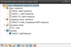 Рисунок 1. Результаты поиска в транзакции ABAPDOCU