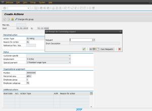 Рисунок 1. Формирование транспортного запроса при сохранении мастер-данных в транзакции PA40