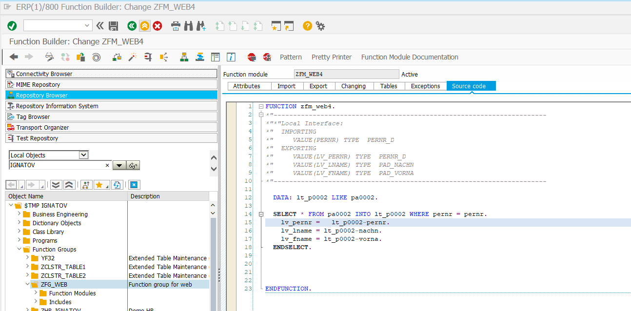 Создание web-сервиса в системе SAP